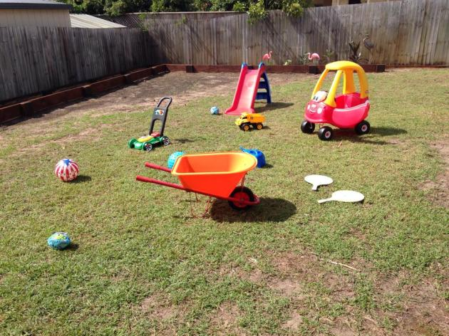 After months of hard work in the garden and collecting outside toys, we finally set it up for Little Man and watched his excitement with utter delight. It's been my dream for a long long time to have toys strewn across the yard.