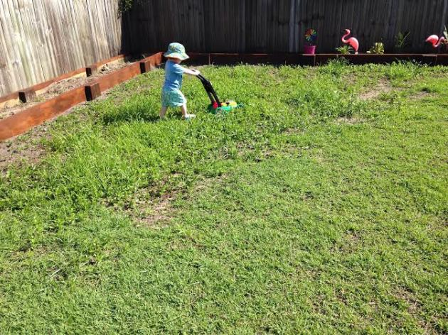 Mowing the, er, weeds.